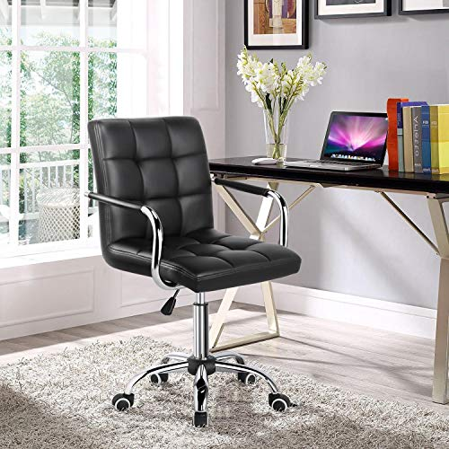 Yaheetech Black Adjustable Faux Leather Swivel Office Chair