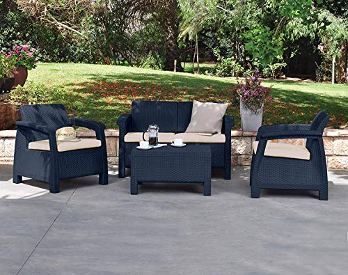 Keter Corfu Outdoor 4 Seater Rattan Sofa Furniture Set with Accent Table
