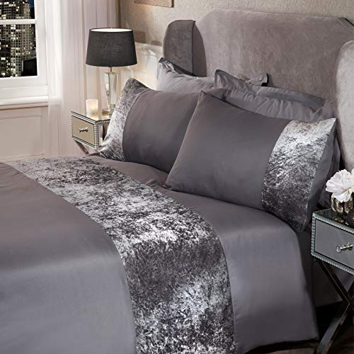 Sienna Crushed Velvet Panel Band Duvet Cover with Pillow Case Bedding Set