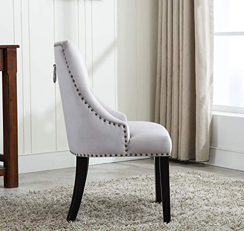 Tufted Velvet Fabric Studded Dining Chair