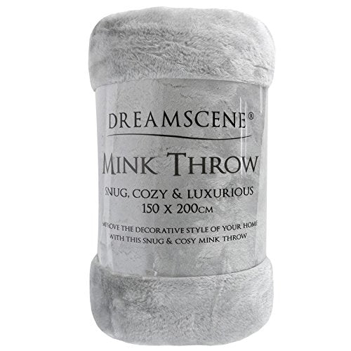 Dreamscene Luxury Faux Fur Mink Fleece Throw - Silver