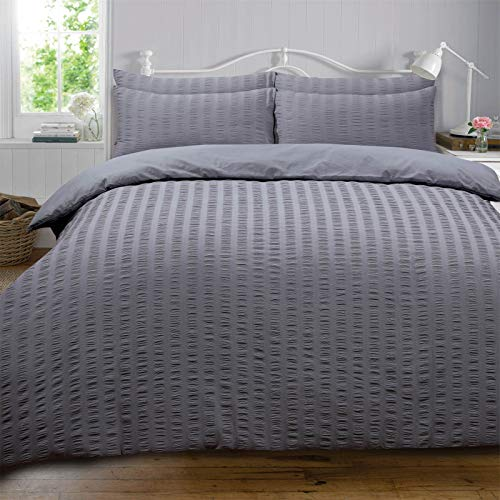 Highams Seersucker Duvet Cover with Pillow Case Bedding Set