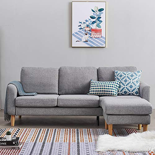 Panana Linen Fabric 3 Seater Sofas with Footstool L Shaped Corner Couch