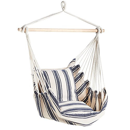 VonHaus Garden Striped Hanging Chair - Outdoor/Indoor Hammock with Cushioned Seat