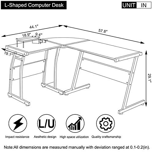 DOSLEEPS Computer Desk, L-Shaped Large Corner