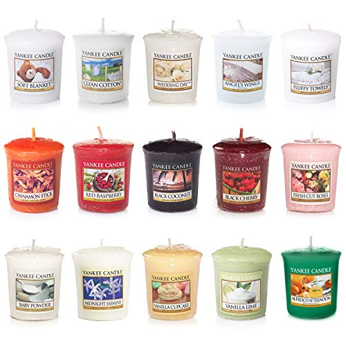 Yankee Candle Votive Value Bundle with 15 Votive Scented Candles, Mixed Popular Fragrances
