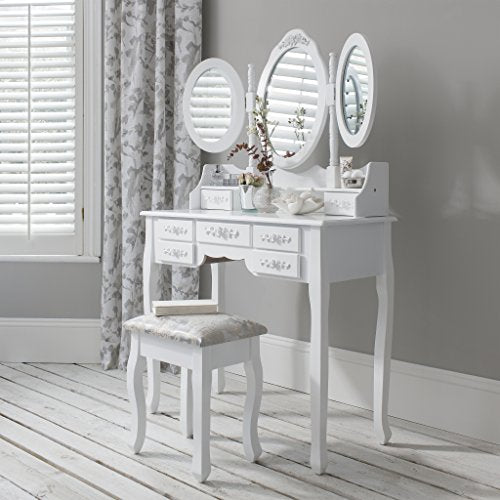 Laura James Monaco White dressing table, stool and mirror set, 7 drawers, 3 mirrors