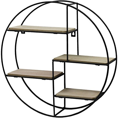 Black Metal Wall Mounted Multi Shelf Storage Organiser Unit Display Rack - Round