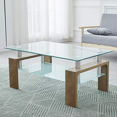 CLIPOP Living Room Rectangle Glass Coffee Table
