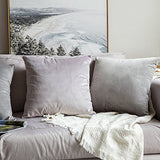 MIULEE Velvet Soft Soild Microfiber Decorative Square Cushion Cover Set of Two Lined