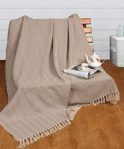 100% Natural Cotton Two Tone Herringbone King Size Throw