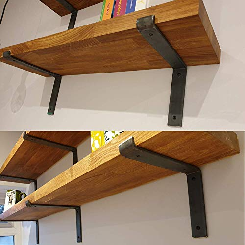 Industrial Rustic Scaffold Board Wall Shelf Shelves All Fixings & 2 Down Metal Brackets Included