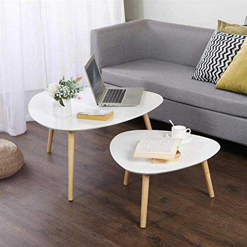 Yaheetech Set of 2 Retro Nest of Tables Wood Coffee Table