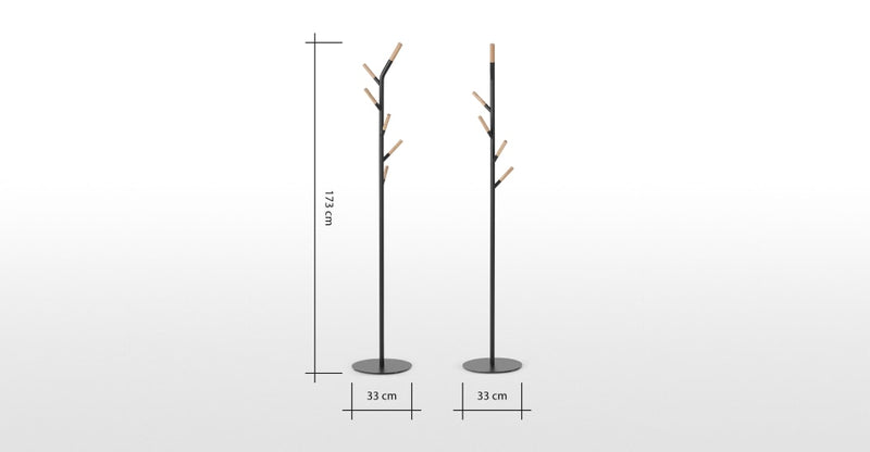 Huldra Coat Stand, Black Metal & Wood