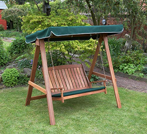 Kingfisher Hardwood Swinging Hammock Bench Seat with Canopy
