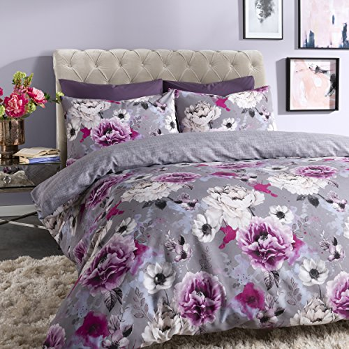 Sleepdown Inky Floral Grey Reversible Duvet Cover and Pillowcases Bedding Set