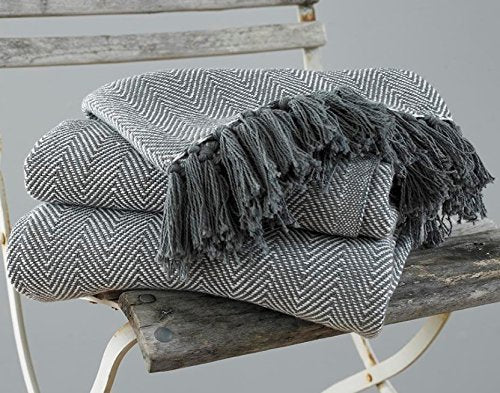 EHC Herringbone King Size 100% Cotton Grey Throw