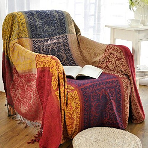 Chenille Jacquard Tassels Throw Blanket Sofa Chair Cover Tablecloth