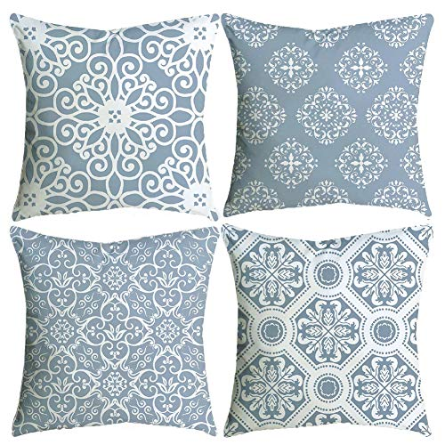 BCKAKQA Throw Pillow Covers 18 x 18 inch Grey Vintage Mandala Cushion Covers