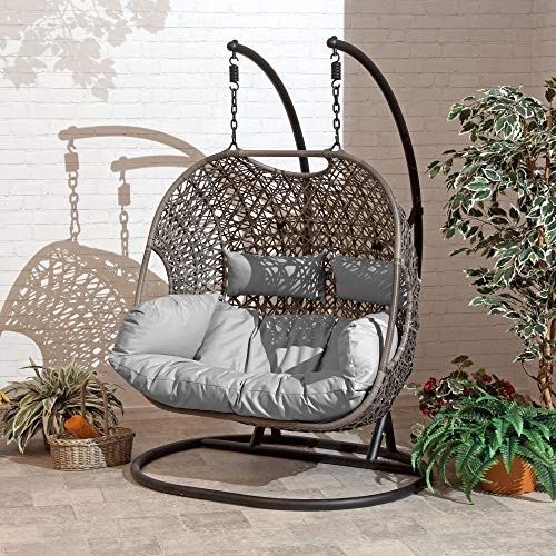 SunTime Brampton Rattan Wicker Outdoor Hanging Cocoon Egg Swing Chair