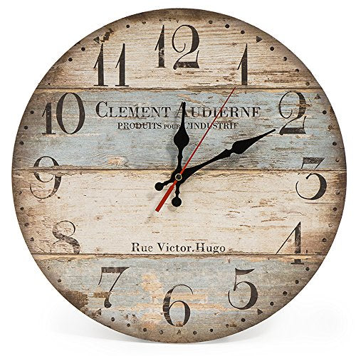 LOHAS Home 30cm Silent Wooden Round Wall Clock