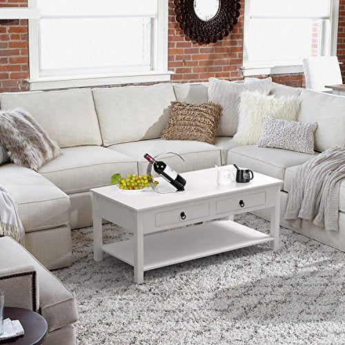 Homfa Coffee Table White Center Table for Living Room