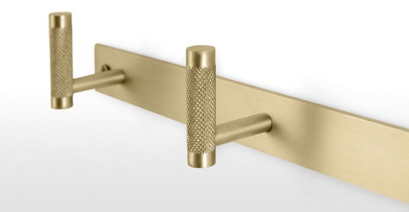 Jovi Knurled Solid Brass Wall Hooks, Brushed Brass