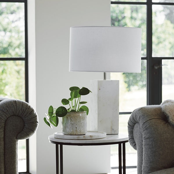 White/Grey Marble Table Lamp