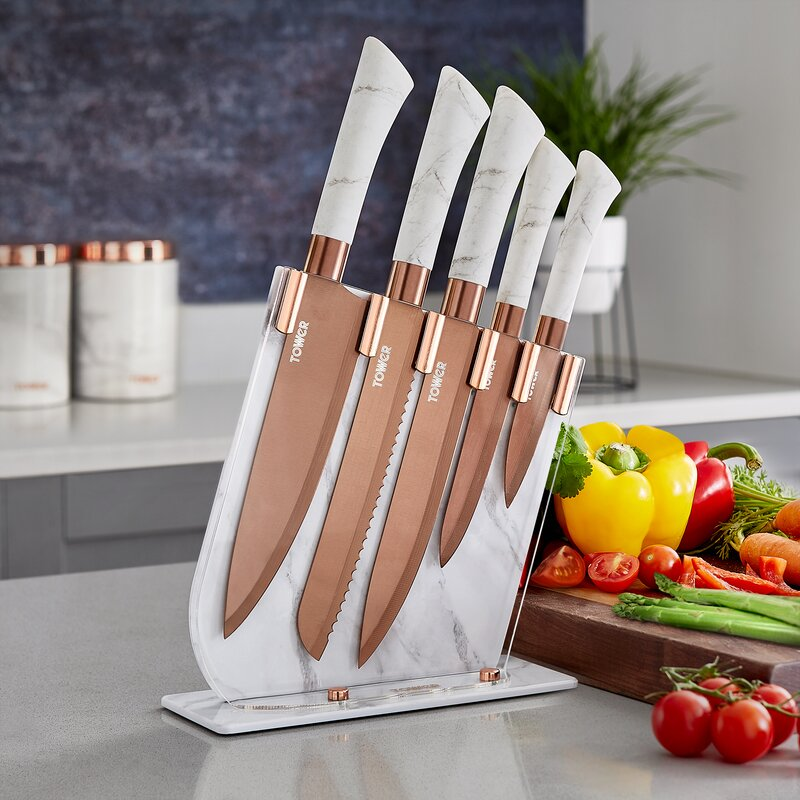 Marble 5 Piece Knife Block Set