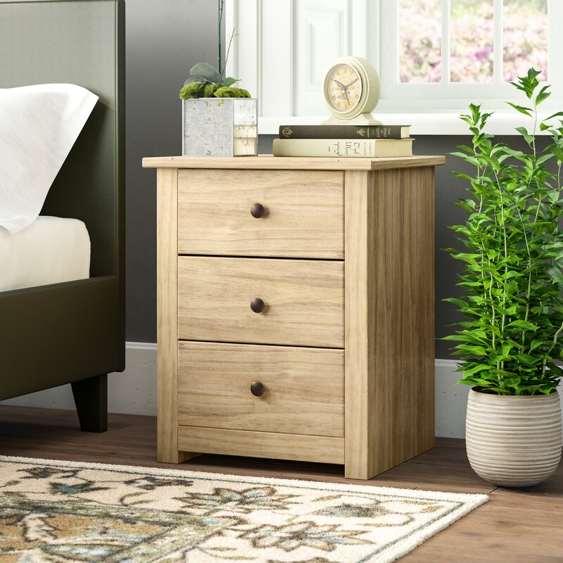McDuffie 3 Drawer Bedside Table