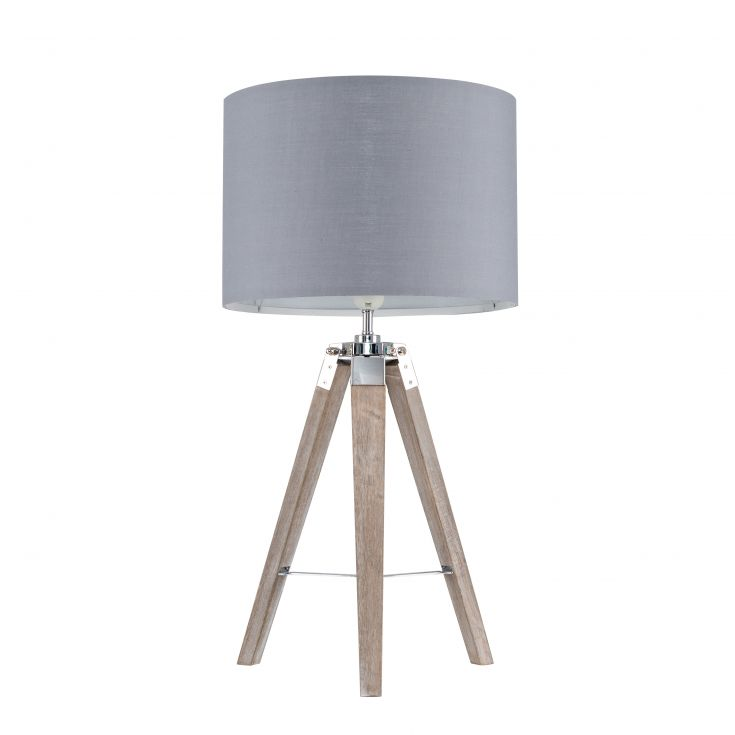 Clipper Light Wood Tripod Table Lamp With a Large Grey Rolla Shade