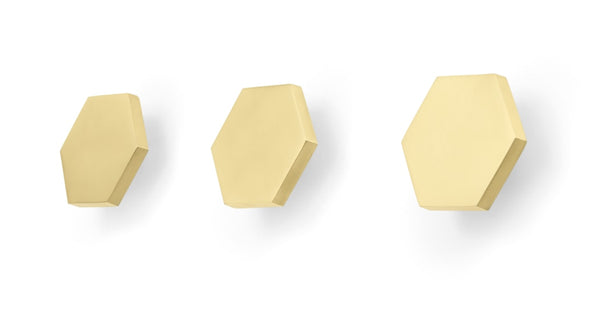 Bjork Set of 3 Hexagon Wall Hooks, Brushed Brass