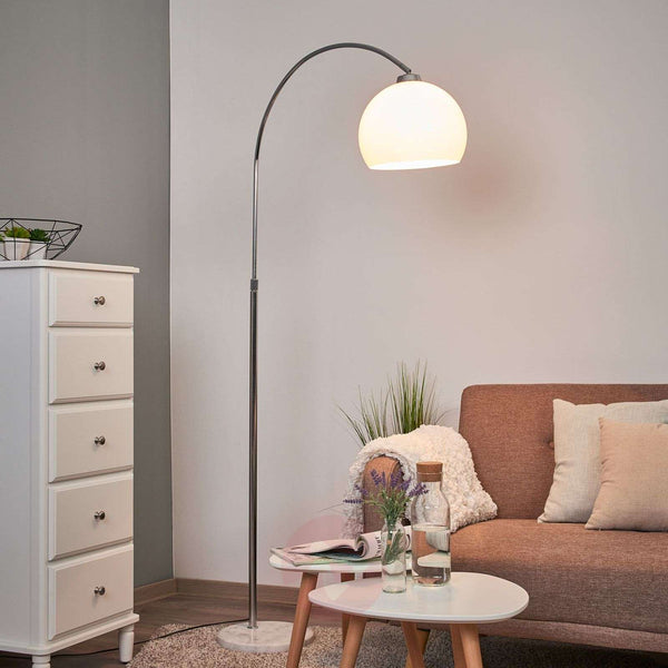 Arc lamp Sveri, marble base and white lampshade