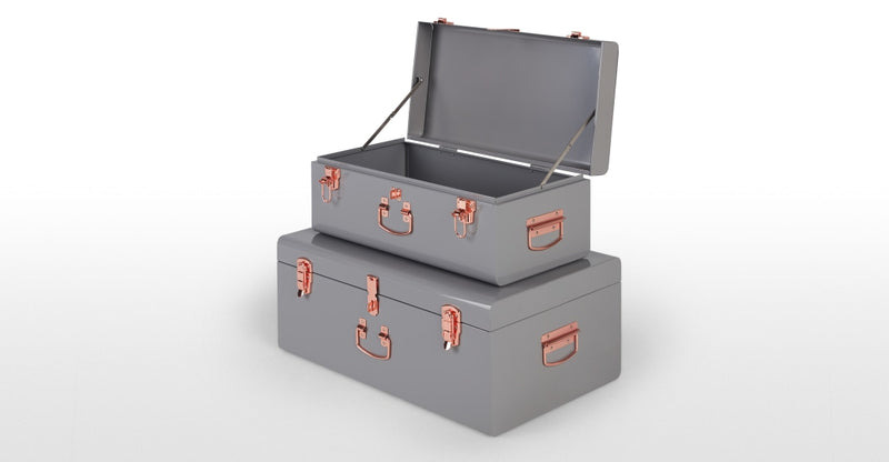 Gunner Set of 2 Metal Trunks, Grey & Copper