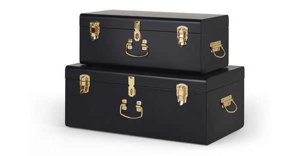 Gunner Set of 2 Metal Trunks, Matt Black & Brass