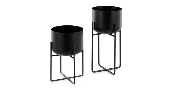 Salix Set Of Two Plant Stands, Black
