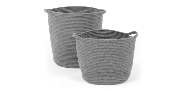 Toro Set of 2 Large Storage Baskets with Handles, Grey
