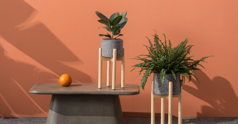 Hakuun Set Of Two Terrazzo Plant Pots With Rubberwood Legs, Grey