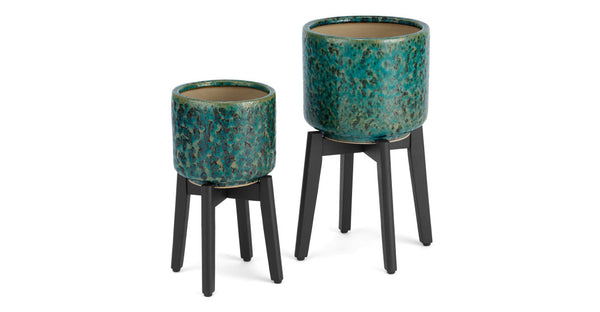 Constan Set of 2 Reactive Glaze Plant Stands With Wooden Legs, Blue