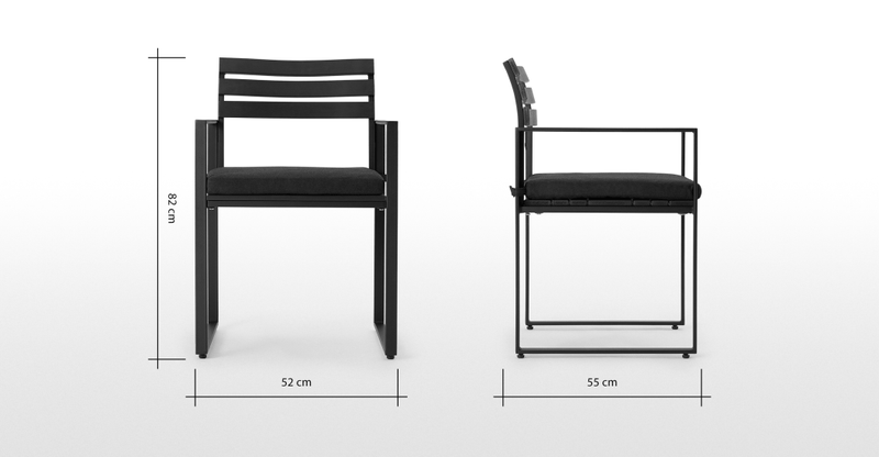 Catania Garden set of 2 Dining Chair, Black and Polywood