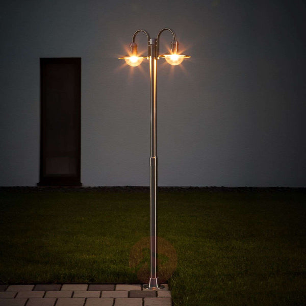 Damion stainless steel post light with two lights