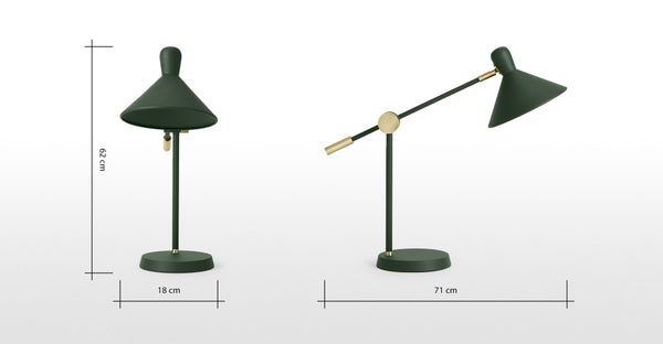 Ogilvy Table Lamp, Green & Antique Brass