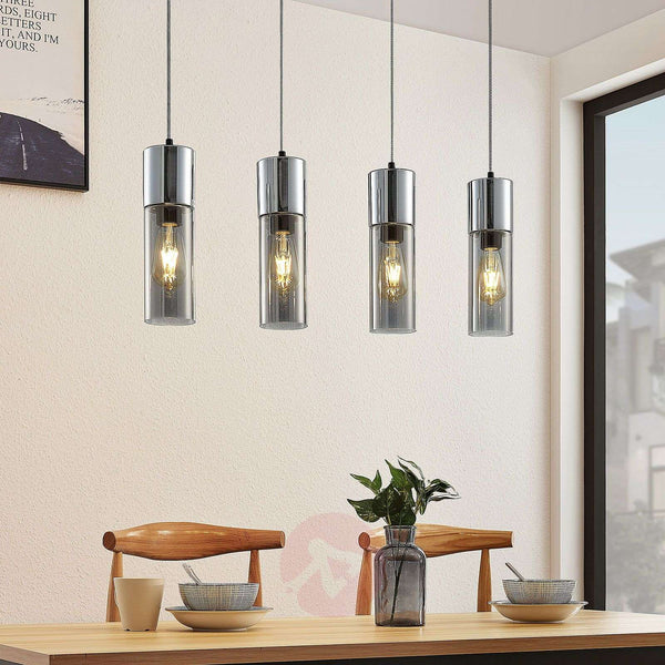 Eleen pendant lamp with 4 smoked glass cylinders