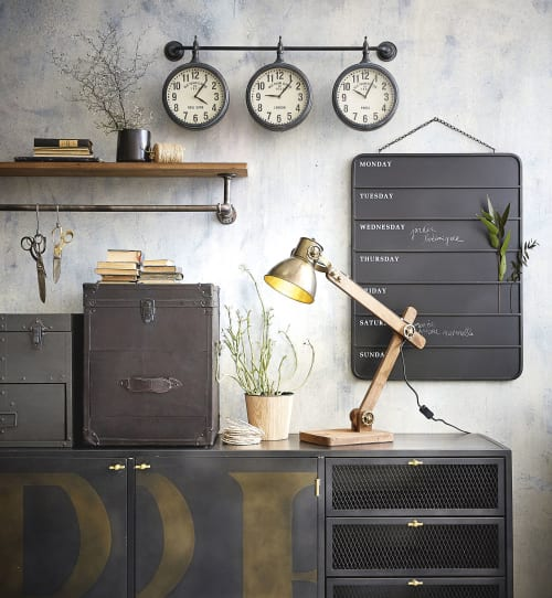 Industrial-Style Pine and Aged-Effect Metal Shelving Unit