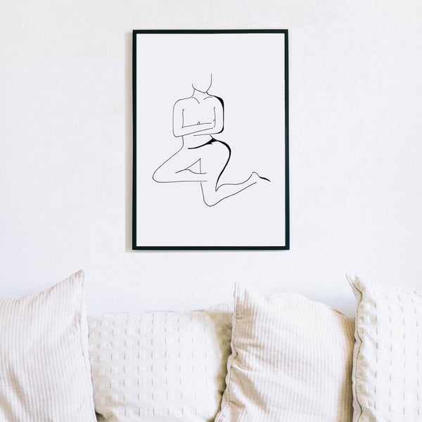 Black and White Nude Lady Art Print by Love to Home