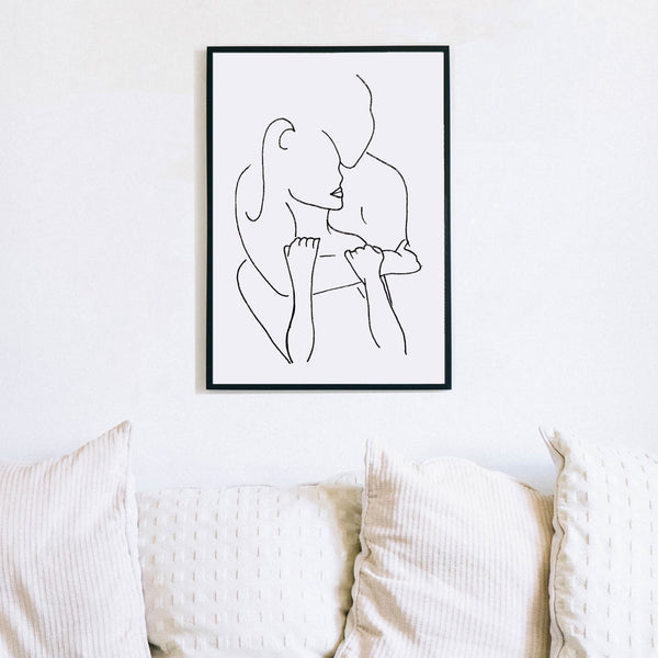 Romantic Love Couple Hugging Art by Love to Home