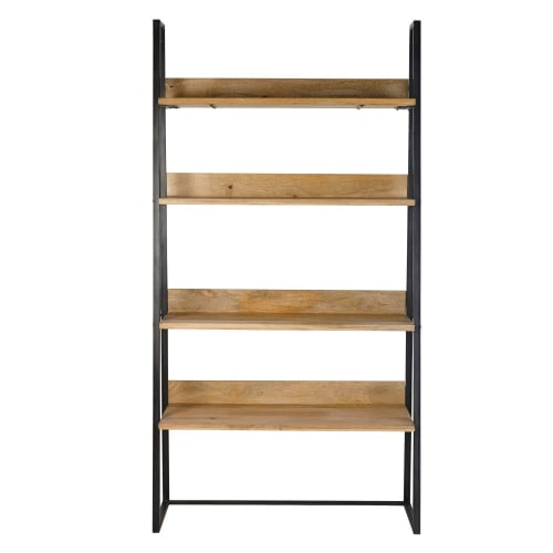 Mango Wood and Black Metal Industrial TV Shelving Unit