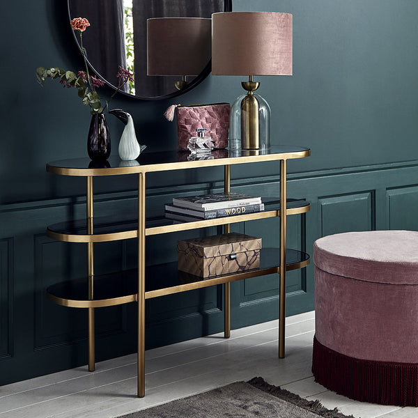 Nordal Oval Console Table - Golden/Black