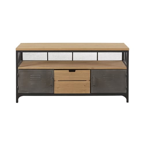 Pine and Metal 1-Drawer 2-Door Industrial-Style TV Unit