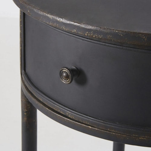 Round Black Metal 1-Drawer Bedside Table